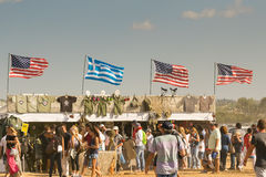Athens, Greece 13 September 2015. People are ready to watch the flight show at the Athens air week flying show. Royalty Free Stock Photo
