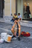 ATHENS, GREECE - SEPTEMBER 17, 2018: Street musicians in Plaka, Athens. ATHENS, GREECE - SEPTEMBER 17, 2018 Street musicians Plaka Athens Greece stock photography