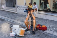ATHENS, GREECE - SEPTEMBER 17, 2018: Street musicians in Plaka, Athens. ATHENS, GREECE - SEPTEMBER 17, 2018 Street musicians Plaka Athens Greece royalty free stock image