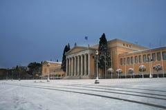 athens greece snowstorm Arkivbilder