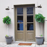 Athens Greece, tavern entrance and flower pots Royalty Free Stock Photo