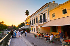 Athens, Greece. Tourists in a street near ancient Agora with many restaurants and coffee shops, Athens Stock Photos