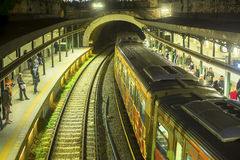 ATHENS, GREECE - Urban metro station with departing train. Stock Images