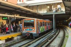 ATHENS, GREECE - Urban metro station with subway train. Stock Photos