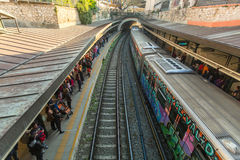 ATHENS, GREECE -  Urban metro station with subway train. Royalty Free Stock Image