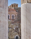 Athens Greece, view of acropolis between ancient Hadrian's library columns Stock Image
