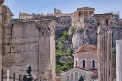 Athens Greece, view of acropolis over Hadrian's library Royalty Free Stock Photos