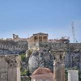 Athens Greece, view of acropolis over Hadrian's library Royalty Free Stock Images