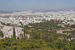 Athens. Greece, Athens. View of a hill Areopagus and Temple Gefesteyon (Teseyon Stock Photos