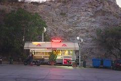 ATHENS, GREECE: View at small kiosk at parking o stock photo