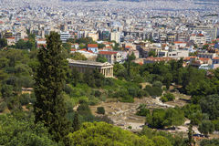 Athens. Greece. View of the temple of the Parthenon to the Ancient Agora. The Acropolis. Stock Photography
