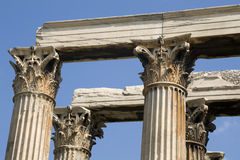 Athens - Greek corinthian capitals topped by linte Stock Photos