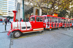 The ``Athens Happy Train`` at Ermou street Syntagma Greece Stock Image