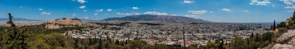 Athens I. A panorama picture of Athens taken from the top of Philopappos Hill stock image