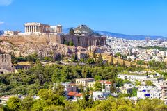 Free Athens In Summer, Greece. Famous Acropolis Hill Rises Above Cityscape Stock Image - 160400141