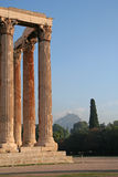 Athens Landmarks - Temple of Zeus. Classic architecture of ancient Greece Royalty Free Stock Images