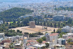 Athens landscape (with Temple of Olympian Zeus) Royalty Free Stock Photography