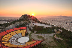 Athens and Lycabettus Hill. Stock Photography