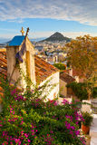 Athens. Lycabettus hill and a small Greek orthodox church in Anafiotika, Athens stock image