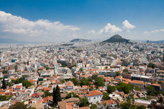 Athens and Lykavitos Hill. Seen from the Acropolis in Athens, Greece Royalty Free Stock Photo