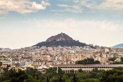 Athens and Lykavitos Hill on a reainy  day, Athens Royalty Free Stock Images