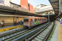 Athens Metro. Urban metro station with subway train. Royalty Free Stock Photo