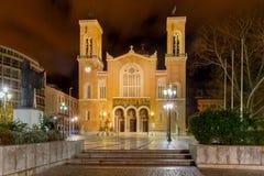 Athens. Metropolis Cathedral. Greek Orthodox cathedral Metropolis at night. Athens. Greece Stock Images