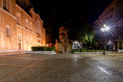Athens. Metropolis Cathedral. Greek Orthodox cathedral Metropolis at night. Athens. Greece Stock Image