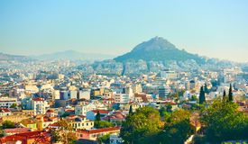 Athens and Mount Lycabettus Royalty Free Stock Photo