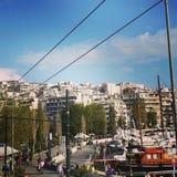 Athens. Nice homes hills daytime royalty free stock photos