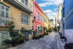 Athens - nice old street with acropolis view, Greece stock photography