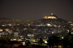 Athens at night. View of Acropolis hill royalty free stock photos