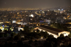 Athens at night. View of Acropolis hill stock photos