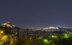 Athens By Night. View of athens in night stock photo
