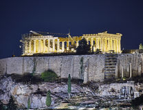 Athens, night view of Parthenon temple on Acropolis Royalty Free Stock Images