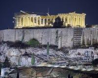 Athens, night view of Parthenon temple on Acropolis Stock Photo