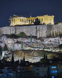 Athens, night view of Parthenon temple on Acropolis Stock Photos