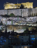 Athens, night view of Parthenon temple on Acropolis Royalty Free Stock Photos
