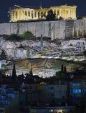Athens, night view of Parthenon temple on Acropolis Royalty Free Stock Photos