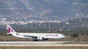 Airplane Airbus A-330-302 Qatar Airwa. Athens - November 21, 2017: Large passenger airplane Airbus A-330-302 Qatar Airways landed at the airport on November 21 Royalty Free Stock Photography