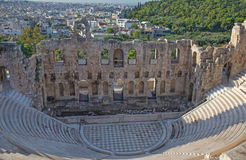 Athens - The Odeon of Herodes Atticus or Herodeon under The Acropolis in morning. Light Stock Photography