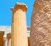 In  athens the      old column  stone  construction asia greece Royalty Free Stock Images