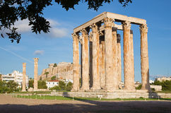 Athens - The Olympieion in morning dusk and the Acropolis Stock Image