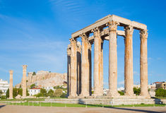 Athens - The Olympieion in morning dusk and the Acropolis Royalty Free Stock Image