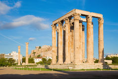 Athens - The Olympieion in morning dusk and the Acropolis in the background. Stock Photos
