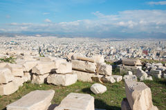 Athens - outlook from Acropolis to north part of the city and the ruins. Royalty Free Stock Images
