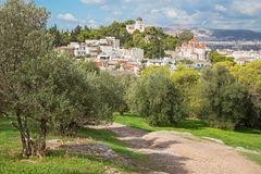 Athens - Outlook from Areopagus hill to Agia Marina church Royalty Free Stock Photo