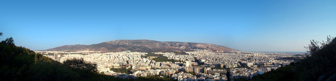 Athens panorama. Over Lykavithos stock image