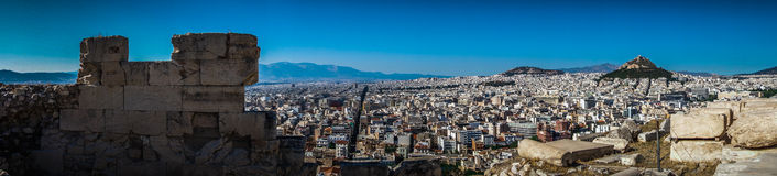 Athens Panorama from Acropolis Stock Image