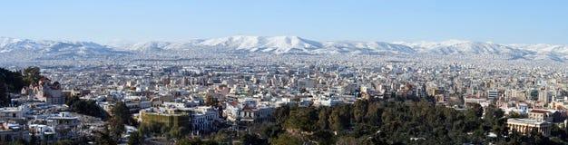 athens panorama- vinter Arkivfoton